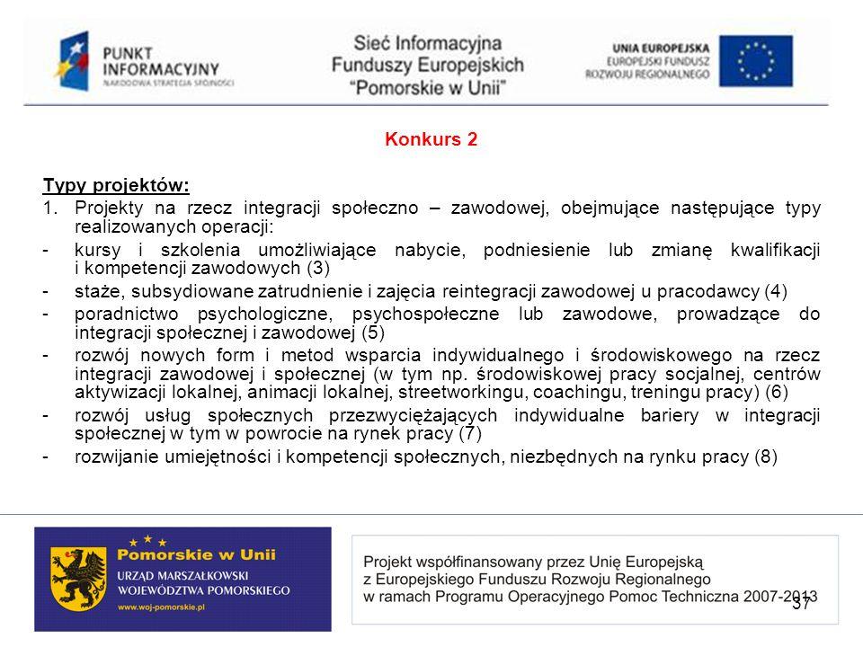 Konkurs 2 Typy projektów: 1. Projekty na rzecz integracji społeczno – zawodowej, obejmujące następujące typy realizowanych operacji: - kursy i szkolen