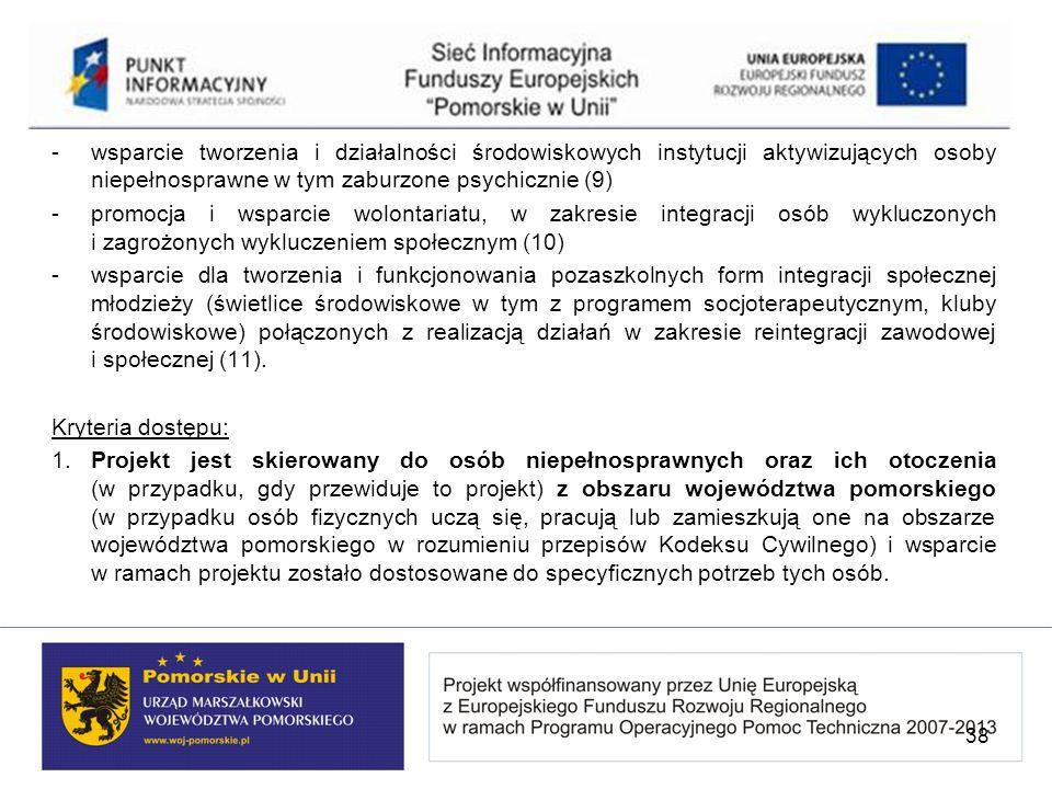 - wsparcie tworzenia i działalności środowiskowych instytucji aktywizujących osoby niepełnosprawne w tym zaburzone psychicznie (9) - promocja i wsparc
