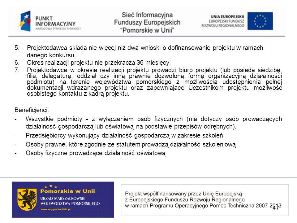 5. Projektodawca składa nie więcej niż dwa wnioski o dofinansowanie projektu w ramach danego konkursu. 6.Okres realizacji projektu nie przekracza 36 m