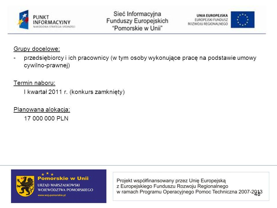 Grupy docelowe: -przedsiębiorcy i ich pracownicy (w tym osoby wykonujące pracę na podstawie umowy cywilno-prawnej) Termin naboru: I kwartał 2011 r. (k