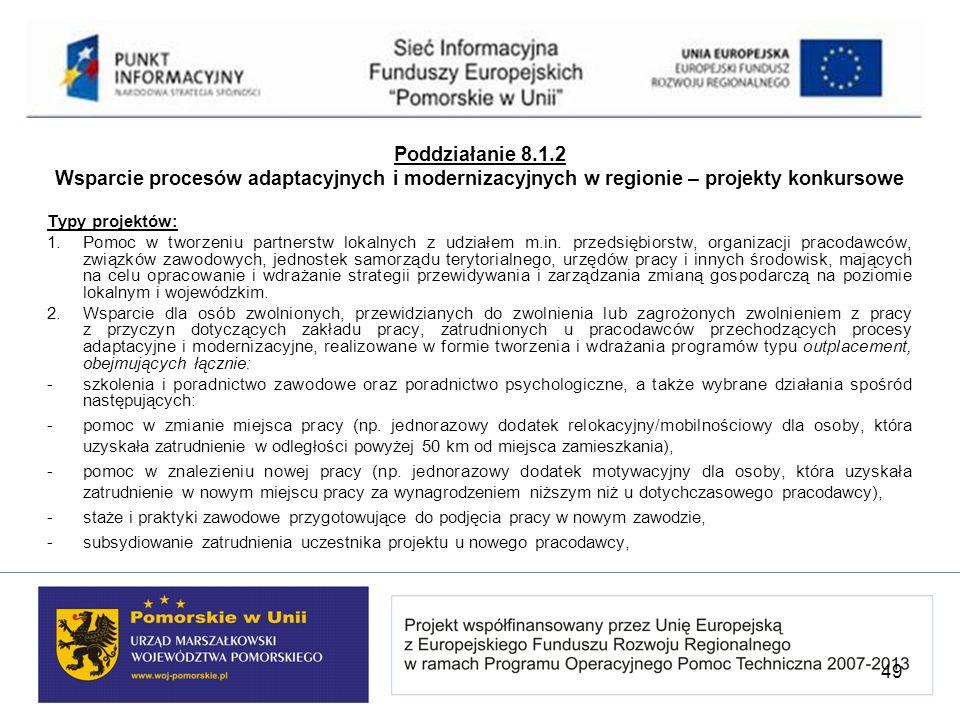 Poddziałanie 8.1.2 Wsparcie procesów adaptacyjnych i modernizacyjnych w regionie – projekty konkursowe Typy projektów: 1.Pomoc w tworzeniu partnerstw