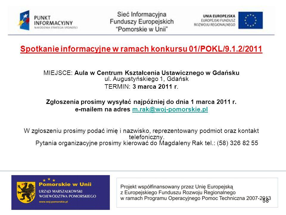Spotkanie informacyjne w ramach konkursu 01/POKL/9.1.2/2011 MIEJSCE: Aula w Centrum Kształcenia Ustawicznego w Gdańsku ul. Augustyńskiego 1, Gdańsk TE