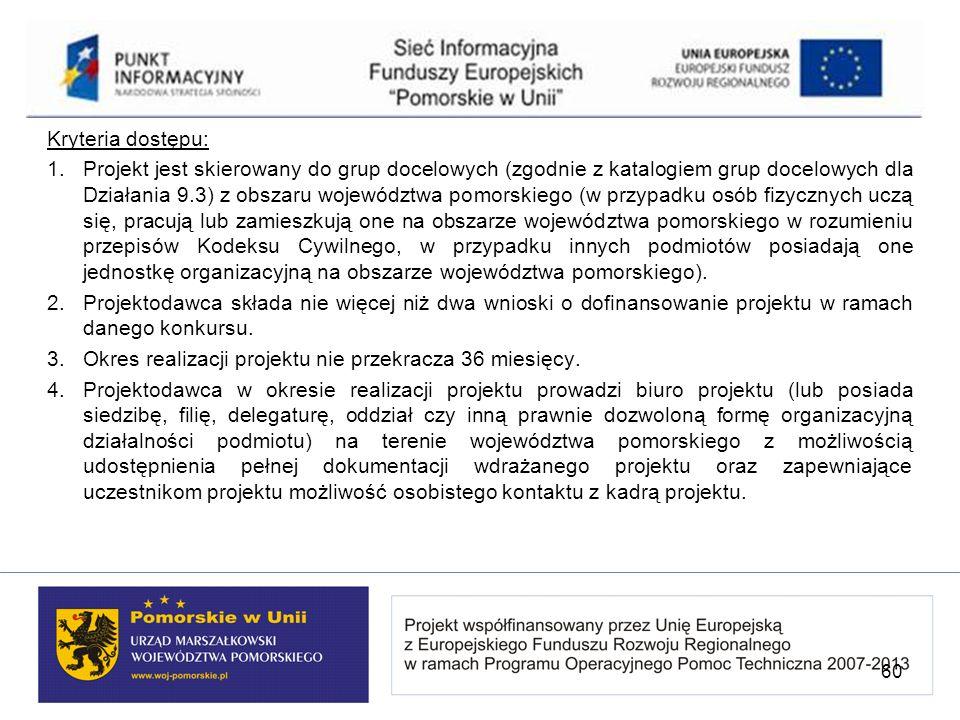 Kryteria dostępu: 1. Projekt jest skierowany do grup docelowych (zgodnie z katalogiem grup docelowych dla Działania 9.3) z obszaru województwa pomorsk