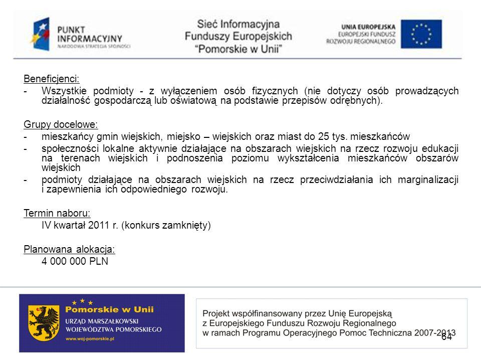 Beneficjenci: -Wszystkie podmioty - z wyłączeniem osób fizycznych (nie dotyczy osób prowadzących działalność gospodarczą lub oświatową na podstawie pr