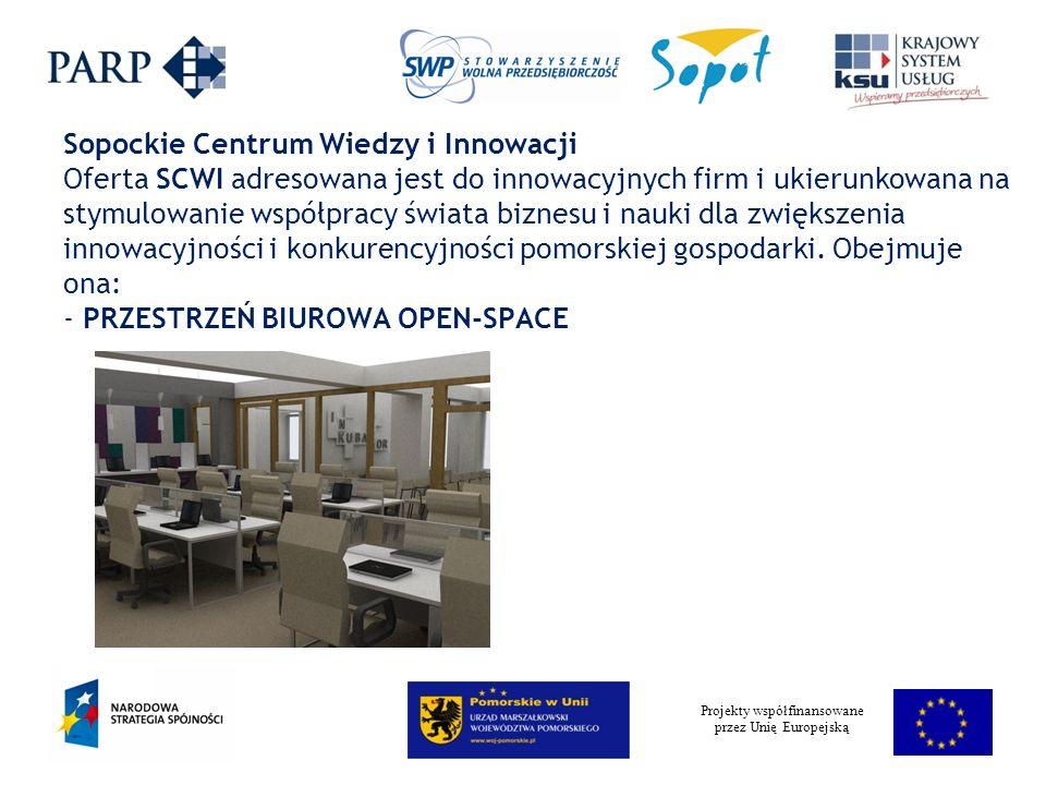 Projekty współfinansowane przez Unię Europejską Sopockie Centrum Wiedzy i Innowacji Oferta SCWI adresowana jest do innowacyjnych firm i ukierunkowana na stymulowanie współpracy świata biznesu i nauki dla zwiększenia innowacyjności i konkurencyjności pomorskiej gospodarki.