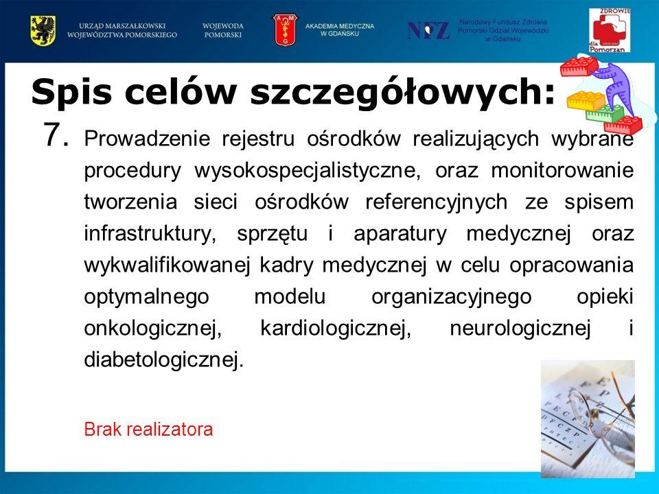 7. Prowadzenie rejestru ośrodków realizujących wybrane procedury wysokospecjalistyczne, oraz monitorowanie tworzenia sieci ośrodków referencyjnych ze