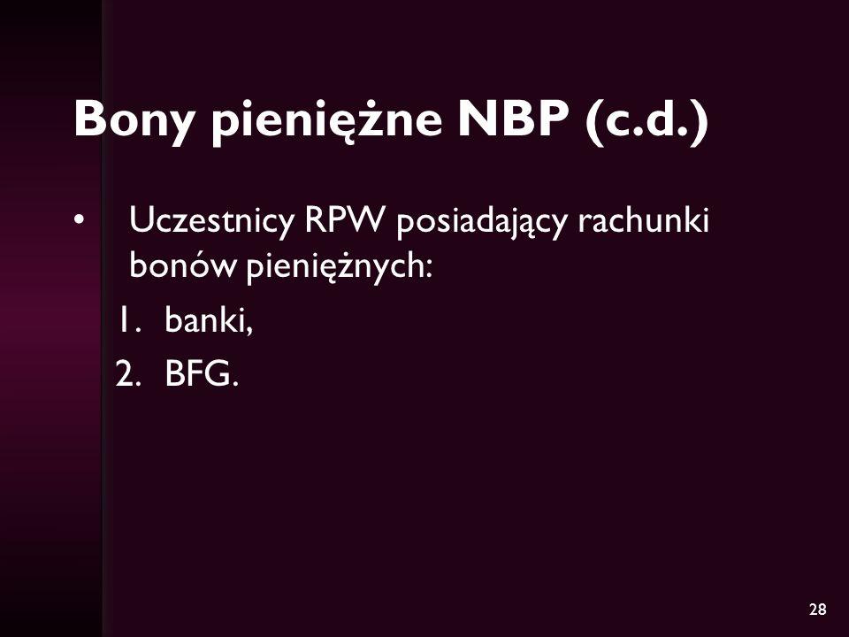 28 Bony pieniężne NBP (c.d.) Uczestnicy RPW posiadający rachunki bonów pieniężnych: 1.banki, 2.BFG.