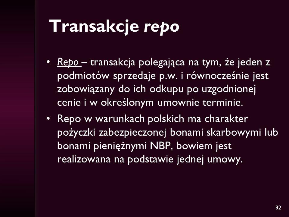 32 Transakcje repo Repo – transakcja polegająca na tym, że jeden z podmiotów sprzedaje p.w. i równocześnie jest zobowiązany do ich odkupu po uzgodnion