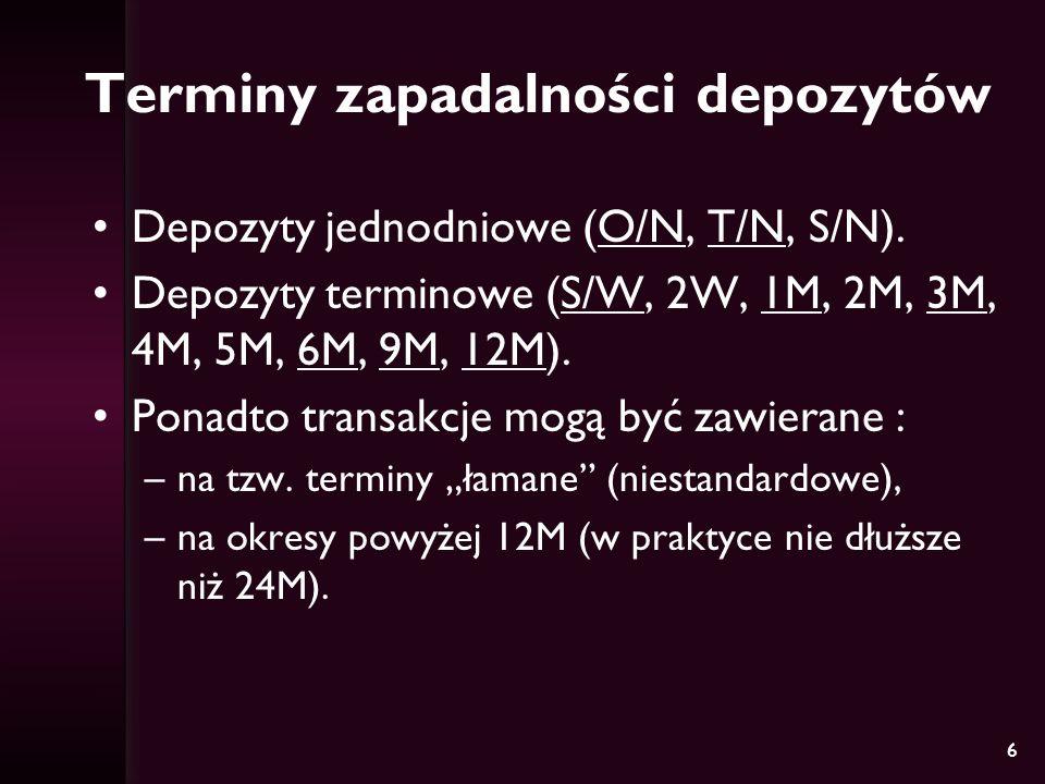 6 Terminy zapadalności depozytów Depozyty jednodniowe (O/N, T/N, S/N). Depozyty terminowe (S/W, 2W, 1M, 2M, 3M, 4M, 5M, 6M, 9M, 12M). Ponadto transakc