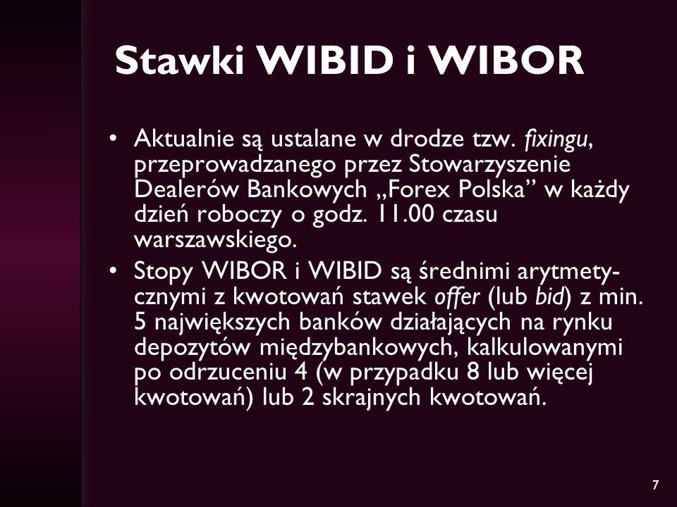 7 Stawki WIBID i WIBOR Aktualnie są ustalane w drodze tzw. fixingu, przeprowadzanego przez Stowarzyszenie Dealerów Bankowych Forex Polska w każdy dzie