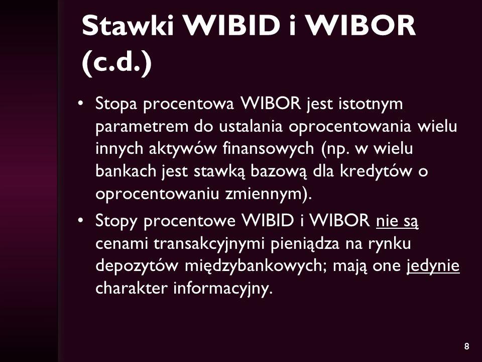 8 Stawki WIBID i WIBOR (c.d.) Stopa procentowa WIBOR jest istotnym parametrem do ustalania oprocentowania wielu innych aktywów finansowych (np. w wiel