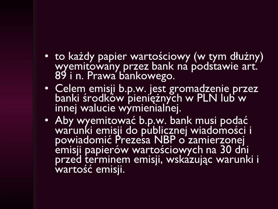 to każdy papier wartościowy (w tym dłużny) wyemitowany przez bank na podstawie art.