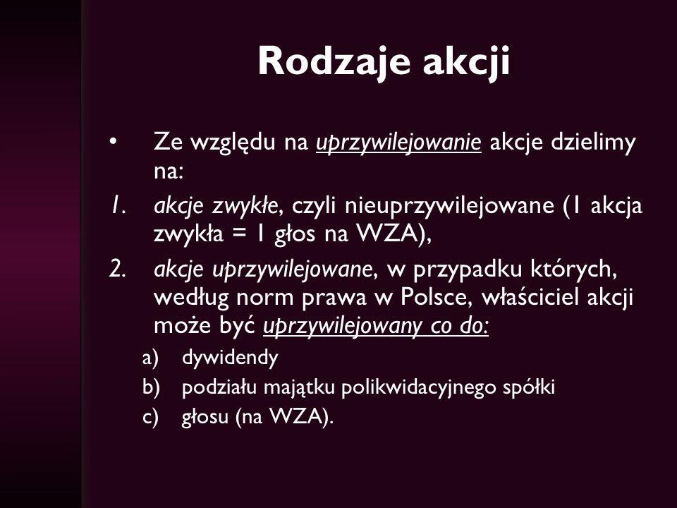 Rodzaje akcji Ze względu na uprzywilejowanie akcje dzielimy na: 1.akcje zwykłe, czyli nieuprzywilejowane (1 akcja zwykła = 1 głos na WZA), 2.akcje uprzywilejowane, w przypadku których, według norm prawa w Polsce, właściciel akcji może być uprzywilejowany co do: a)dywidendy b)podziału majątku polikwidacyjnego spółki c)głosu (na WZA).