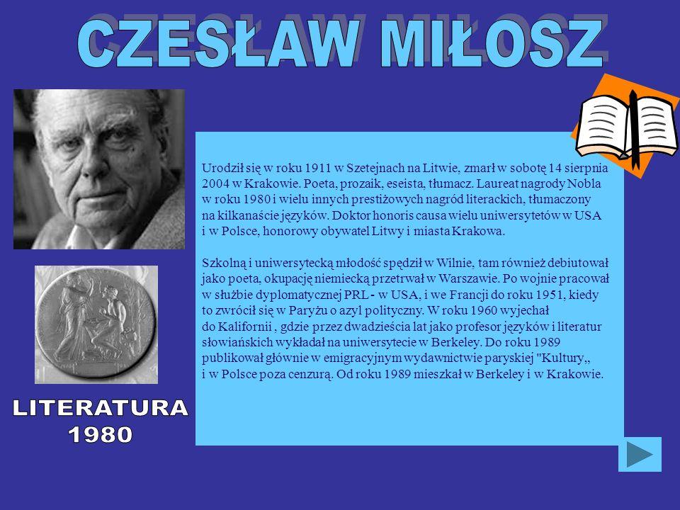 Urodził się w roku 1911 w Szetejnach na Litwie, zmarł w sobotę 14 sierpnia 2004 w Krakowie. Poeta, prozaik, eseista, tłumacz. Laureat nagrody Nobla w