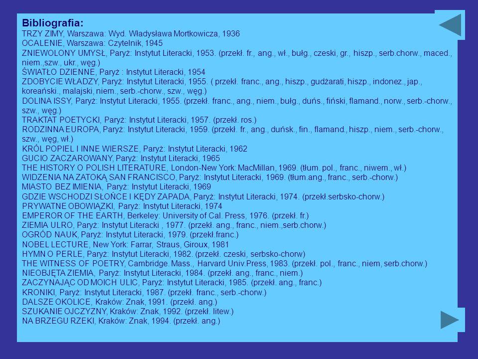 Bibliografia: TRZY ZIMY, Warszawa: Wyd. Władysława Mortkowicza, 1936 OCALENIE, Warszawa: Czytelnik, 1945 ZNIEWOLONY UMYSŁ, Paryż: Instytut Literacki,