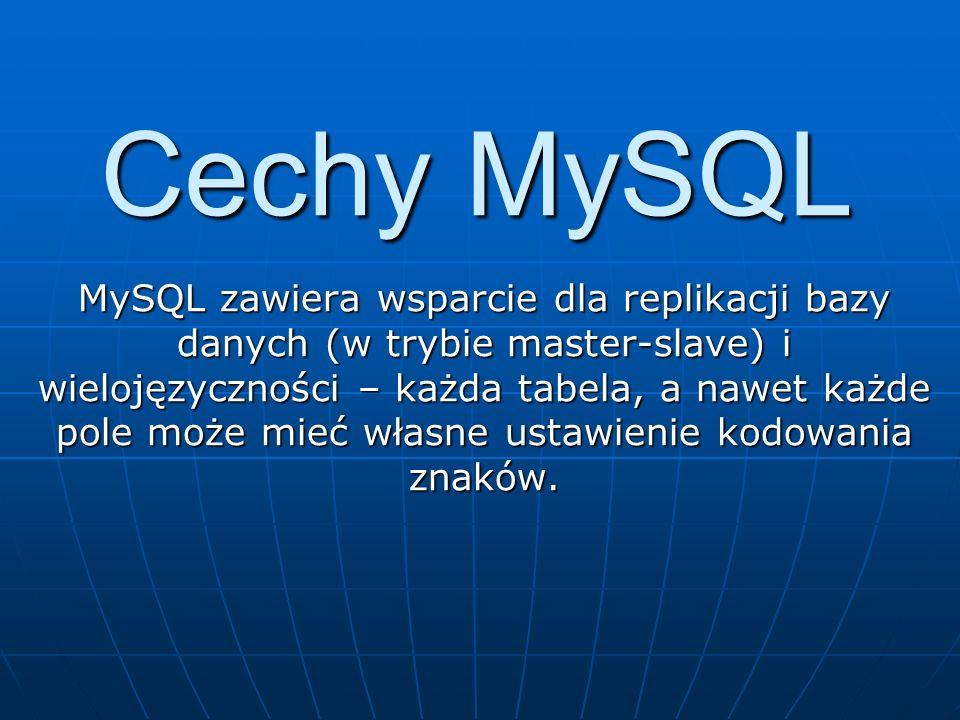 Cechy MySQL MySQL zawiera wsparcie dla replikacji bazy danych (w trybie master-slave) i wielojęzyczności – każda tabela, a nawet każde pole może mieć