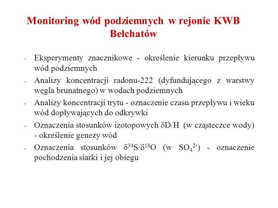 Monitoring wód podziemnych w rejonie KWB Bełchatów ^ Eksperymenty znacznikowe - określenie kierunku przepływu wód podziemnych ^ Analizy koncentracji r