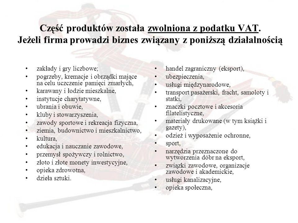 Część produktów została zwolniona z podatku VAT. Jeżeli firma prowadzi biznes związany z poniższą działalnością zakłady i gry liczbowe; pogrzeby, krem