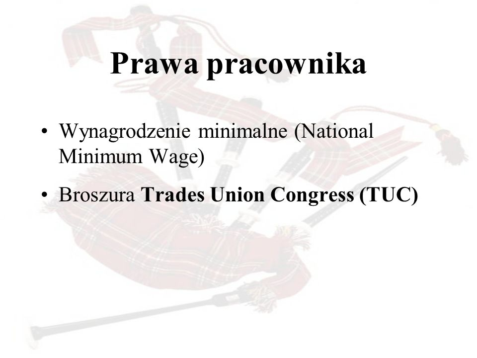 Prawa pracownika Wynagrodzenie minimalne (National Minimum Wage) Broszura Trades Union Congress (TUC)