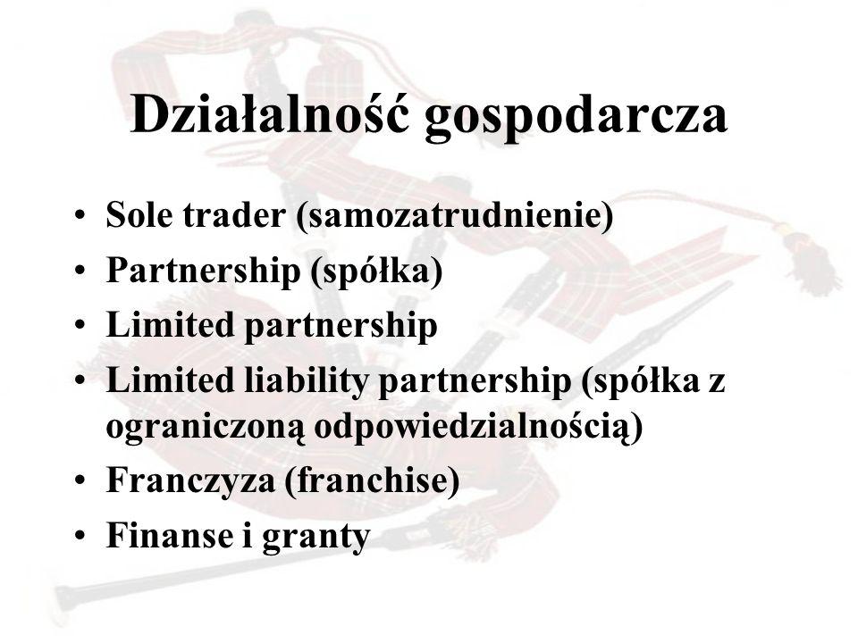 Działalność gospodarcza Sole trader (samozatrudnienie) Partnership (spółka) Limited partnership Limited liability partnership (spółka z ograniczoną od