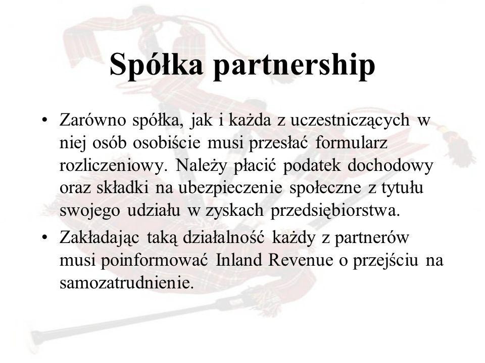 Spółka partnership Zarówno spółka, jak i każda z uczestniczących w niej osób osobiście musi przesłać formularz rozliczeniowy. Należy płacić podatek do