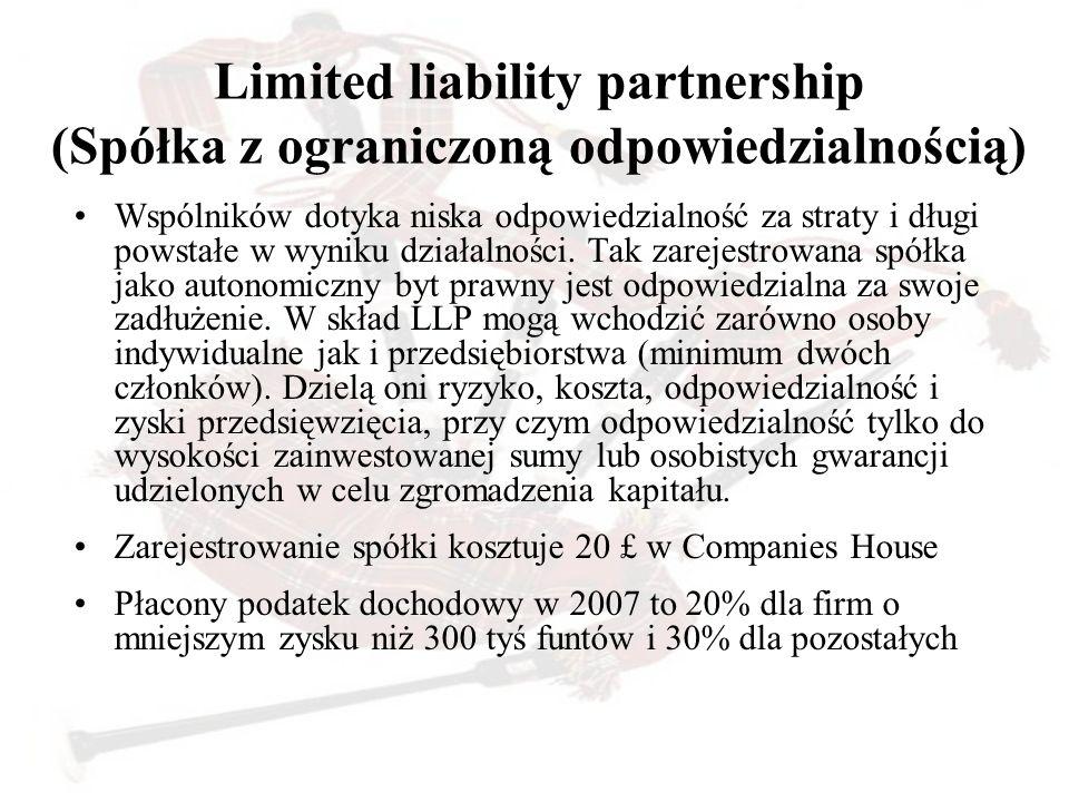 Limited liability partnership (Spółka z ograniczoną odpowiedzialnością) Wspólników dotyka niska odpowiedzialność za straty i długi powstałe w wyniku d