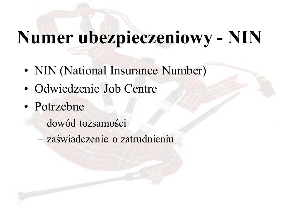 Numer ubezpieczeniowy - NIN NIN (National Insurance Number) Odwiedzenie Job Centre Potrzebne –dowód tożsamości –zaświadczenie o zatrudnieniu