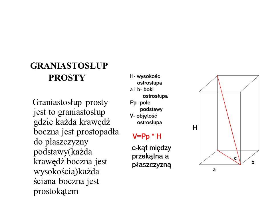 GRANIASTOSŁUP PROSTY Graniastosłup prosty jest to graniastosłup gdzie każda krawędź boczna jest prostopadła do płaszczyzny podstawy(każda krawędź bocz