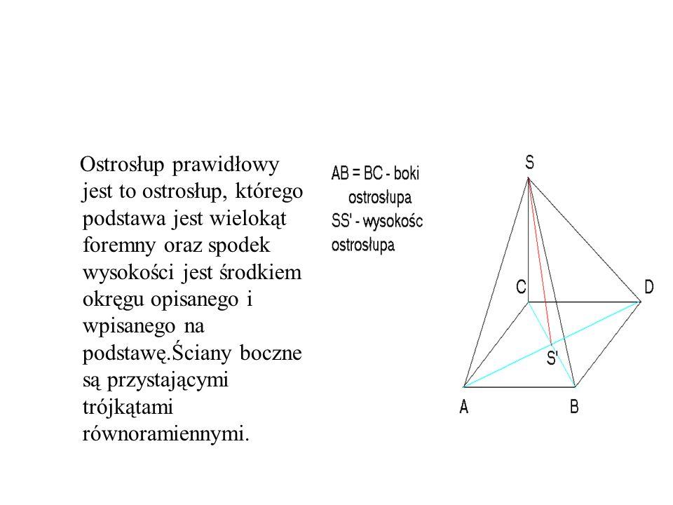Ostrosłup prawidłowy jest to ostrosłup, którego podstawa jest wielokąt foremny oraz spodek wysokości jest środkiem okręgu opisanego i wpisanego na pod