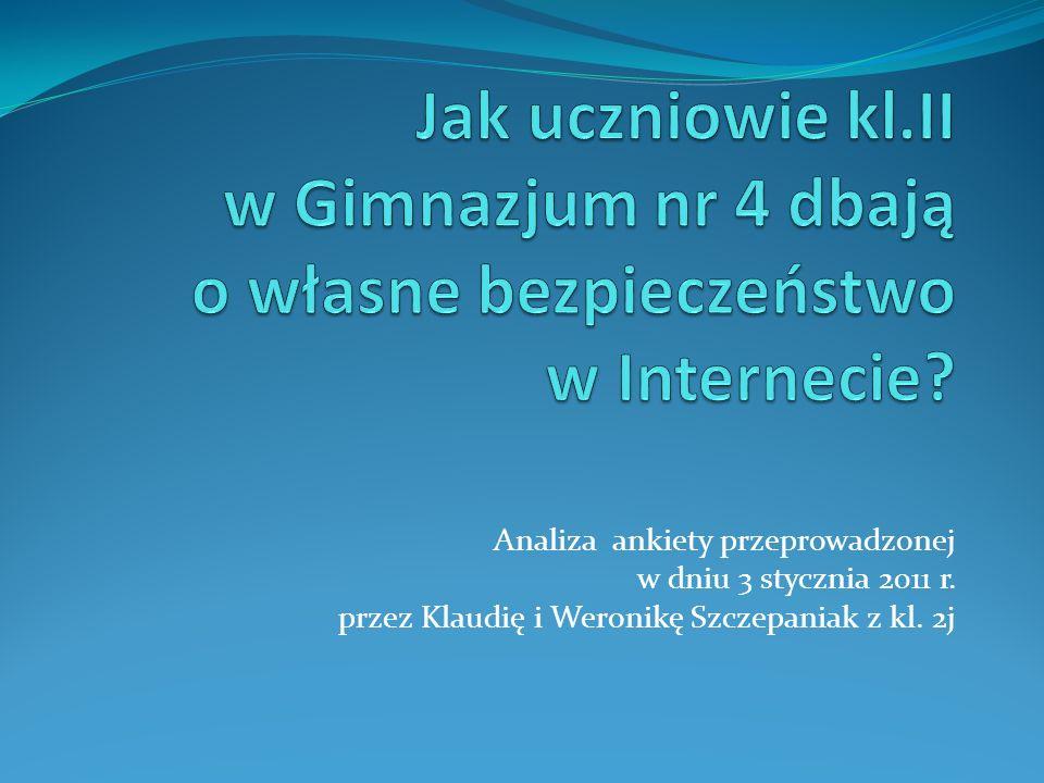 Analiza ankiety przeprowadzonej w dniu 3 stycznia 2011 r. przez Klaudię i Weronikę Szczepaniak z kl. 2j