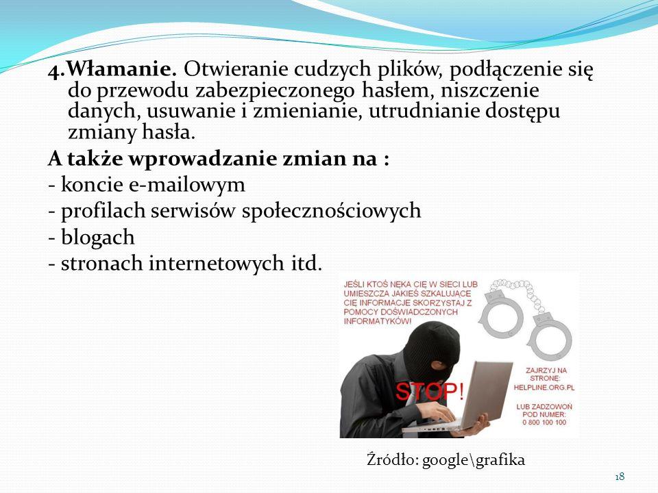 4.Włamanie. Otwieranie cudzych plików, podłączenie się do przewodu zabezpieczonego hasłem, niszczenie danych, usuwanie i zmienianie, utrudnianie dostę