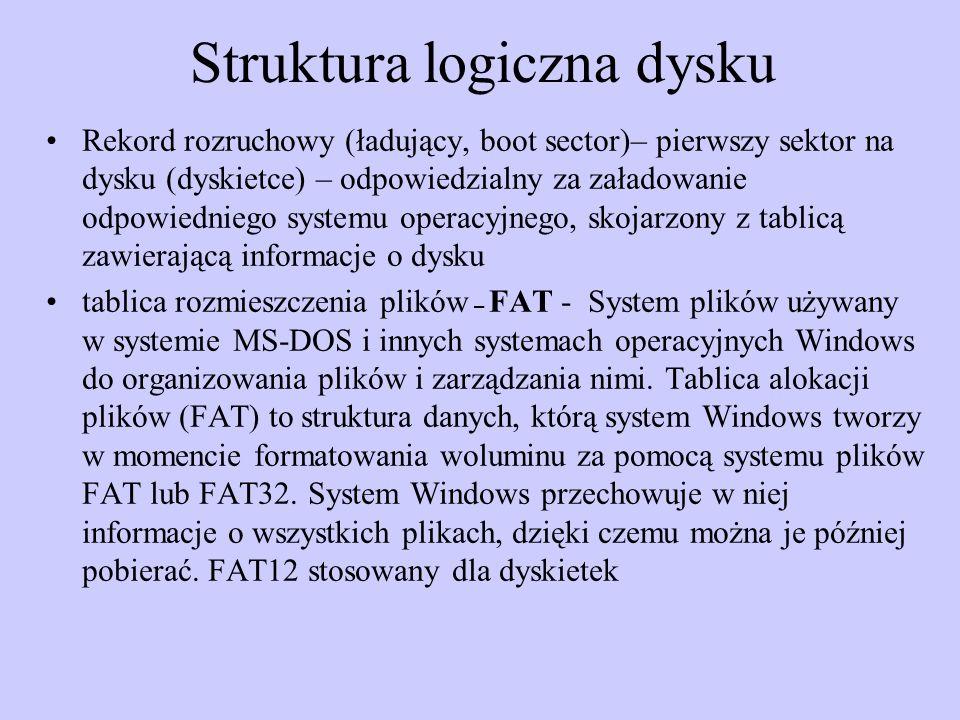 Struktura logiczna dysku Rekord rozruchowy (ładujący, boot sector)– pierwszy sektor na dysku (dyskietce) – odpowiedzialny za załadowanie odpowiedniego