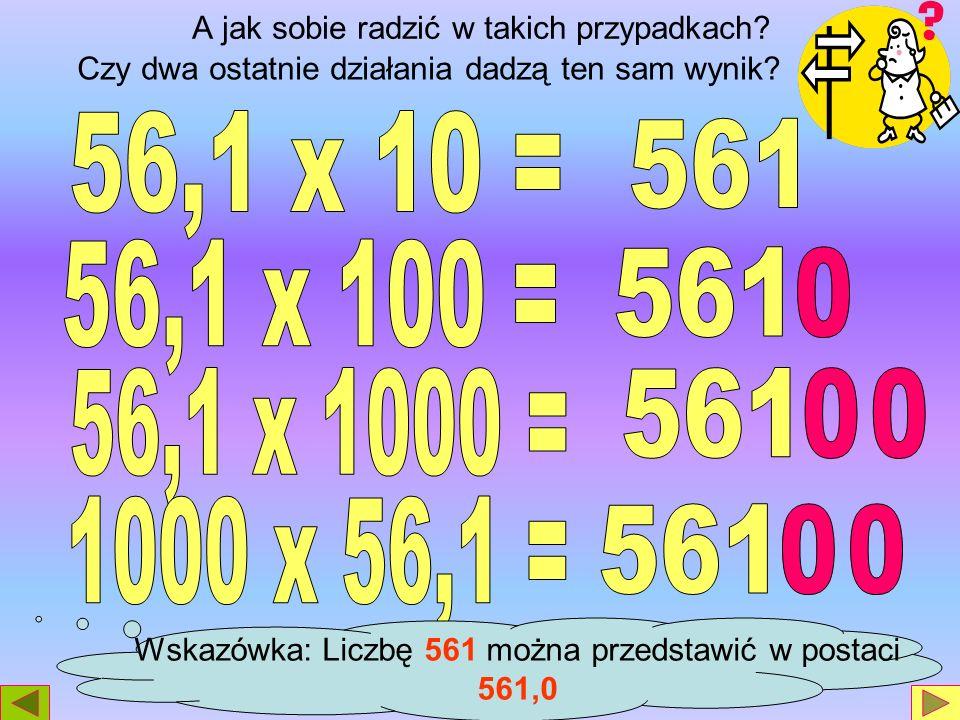 Następnie Karol dzielił na kalkulatorze tą samą liczbę dziesiętną kolejno przez liczby 10, 100 i 1000, swoje wyniki zanotował na następnej stronie.