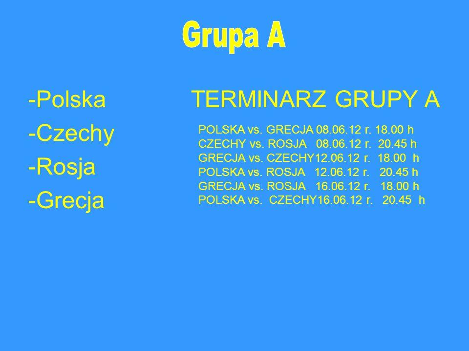 -Polska TERMINARZ GRUPY A -Czechy -Rosja -Grecja POLSKA vs. GRECJA 08.06.12 r. 18.00 h CZECHY vs. ROSJA 08.06.12 r. 20.45 h GRECJA vs. CZECHY12.06.12