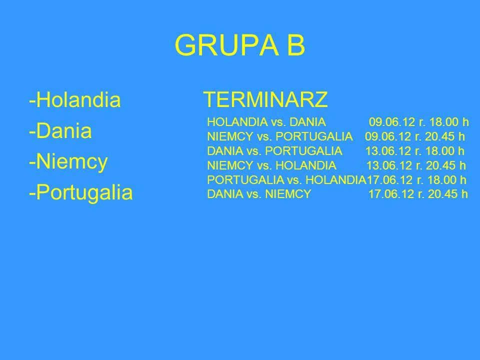 GRUPA B -Holandia TERMINARZ -Dania -Niemcy -Portugalia HOLANDIA vs. DANIA 09.06.12 r. 18.00 h NIEMCY vs. PORTUGALIA 09.06.12 r. 20.45 h DANIA vs. PORT