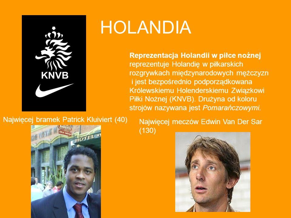 HOLANDIA Reprezentacja Holandii w piłce nożnej reprezentuje Holandię w piłkarskich rozgrywkach międzynarodowych mężczyzn i jest bezpośrednio podporząd