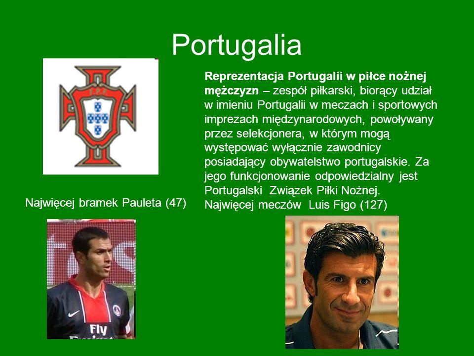 Portugalia Reprezentacja Portugalii w piłce nożnej mężczyzn – zespół piłkarski, biorący udział w imieniu Portugalii w meczach i sportowych imprezach m