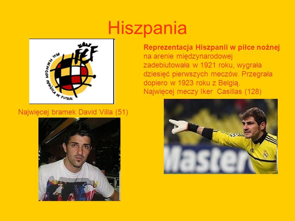Hiszpania Reprezentacja Hiszpanii w piłce nożnej na arenie międzynarodowej zadebiutowała w 1921 roku, wygrała dziesięć pierwszych meczów. Przegrała do