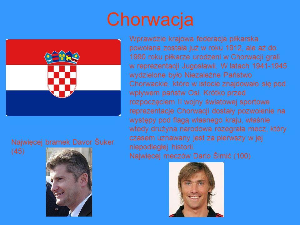Chorwacja Wprawdzie krajowa federacja piłkarska powołana została już w roku 1912, ale aż do 1990 roku piłkarze urodzeni w Chorwacji grali w reprezenta