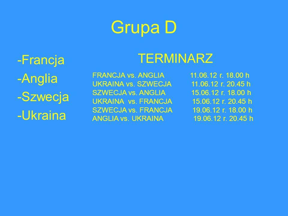 Grupa D -Francja -Anglia -Szwecja -Ukraina TERMINARZ FRANCJA vs. ANGLIA 11.06.12 r. 18.00 h UKRAINA vs. SZWECJA 11.06.12 r. 20.45 h SZWECJA vs. ANGLIA