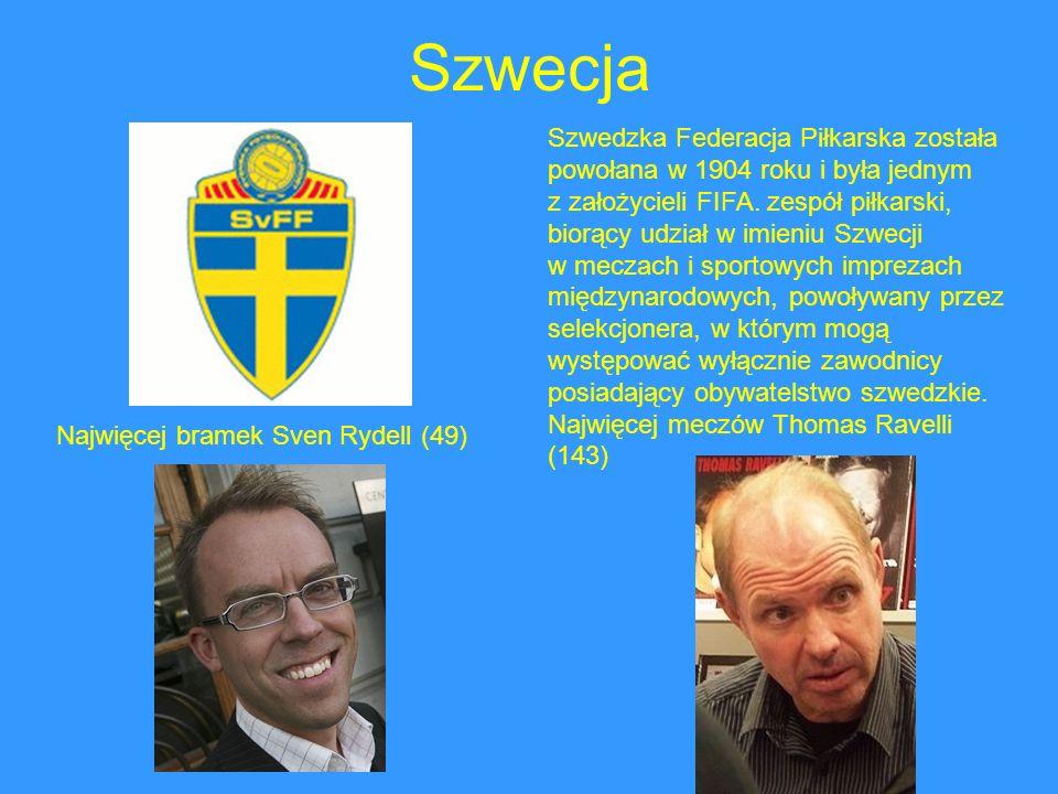 Szwecja Szwedzka Federacja Piłkarska została powołana w 1904 roku i była jednym z założycieli FIFA. zespół piłkarski, biorący udział w imieniu Szwecji