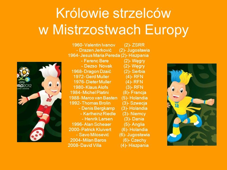Królowie strzelców w Mistrzostwach Europy 1960- Valentin Ivanov (2)- ZSRR - Drazen Jerković (2)- Jugosławia 1964- Jesus Maria Pereda (2)- Hiszpania -