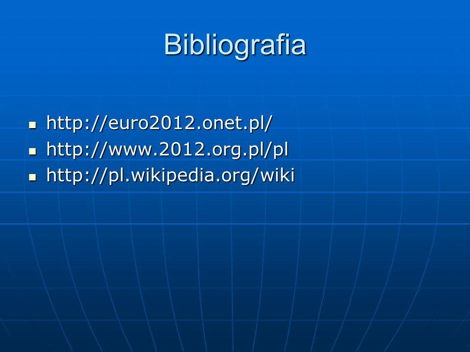 Bibliografia http://euro2012.onet.pl/ http://euro2012.onet.pl/ http://www.2012.org.pl/pl http://www.2012.org.pl/pl http://pl.wikipedia.org/wiki http://pl.wikipedia.org/wiki
