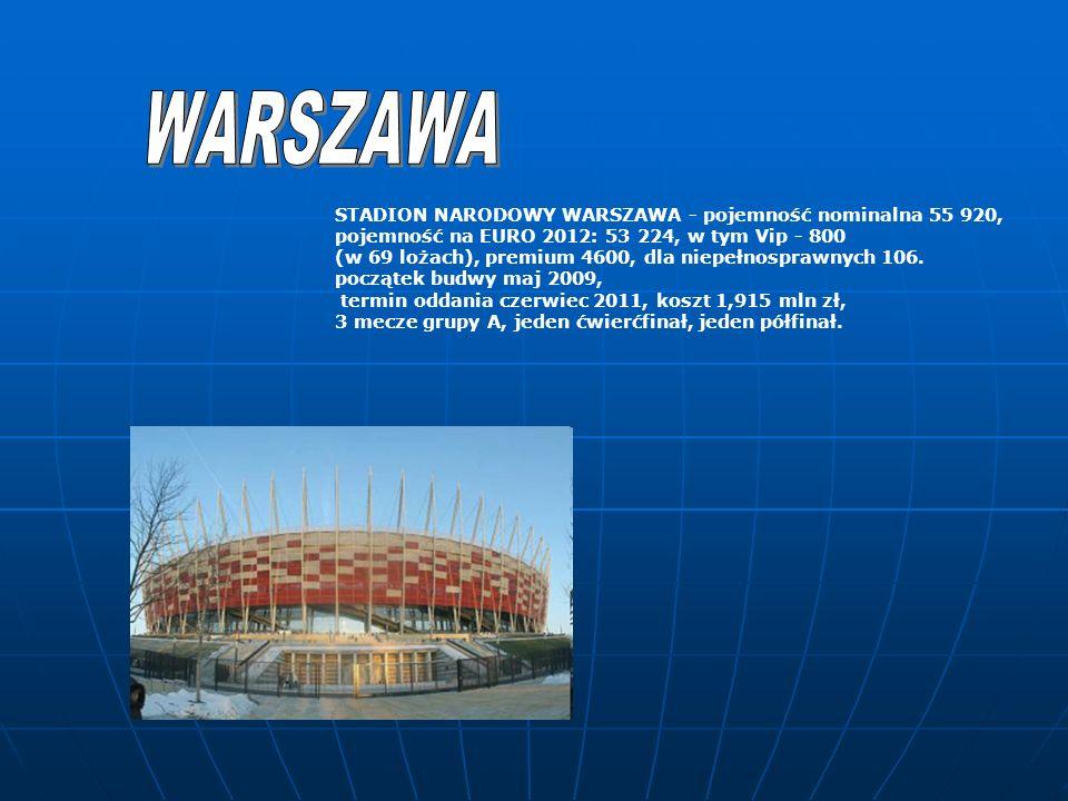 STADION NARODOWY WARSZAWA - pojemność nominalna 55 920, pojemność na EURO 2012: 53 224, w tym Vip - 800 (w 69 lożach), premium 4600, dla niepełnosprawnych 106.