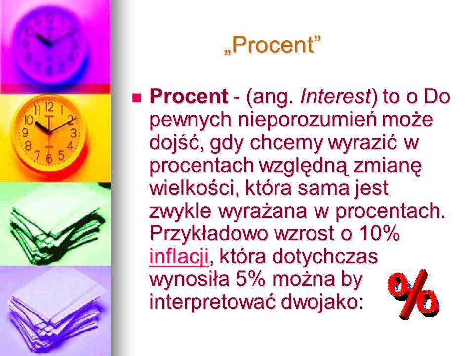 Procent Procent Procent - (ang. Interest) to o Do pewnych nieporozumień może dojść, gdy chcemy wyrazić w procentach względną zmianę wielkości, która s