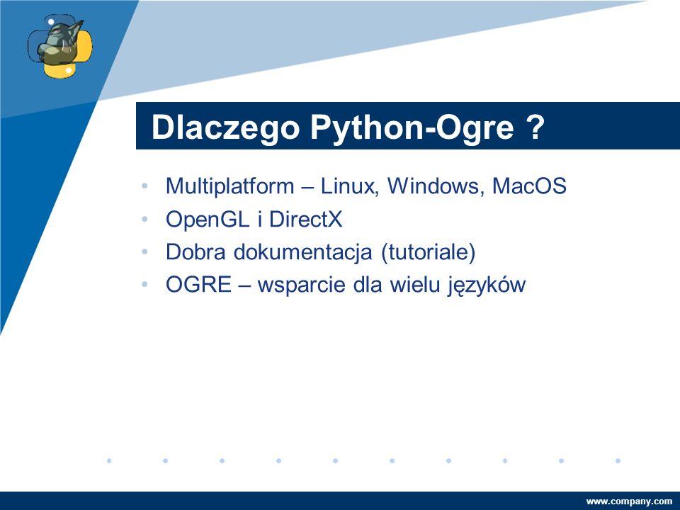 Company LOGO www.company.com Dlaczego Python-Ogre .