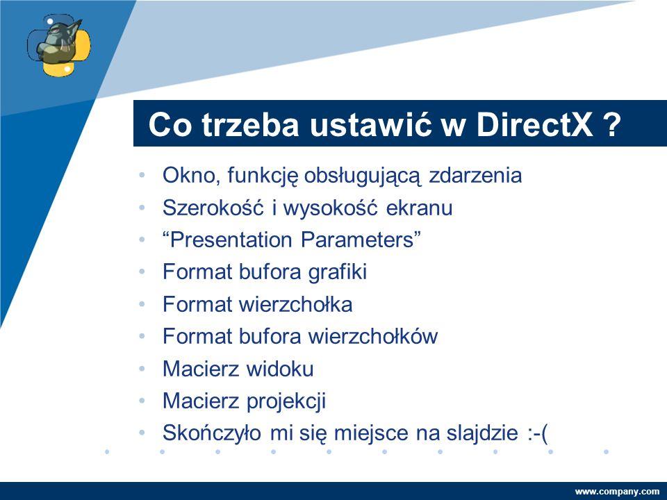 Company LOGO www.company.com Co trzeba ustawić w DirectX ? Okno, funkcję obsługującą zdarzenia Szerokość i wysokość ekranu Presentation Parameters For