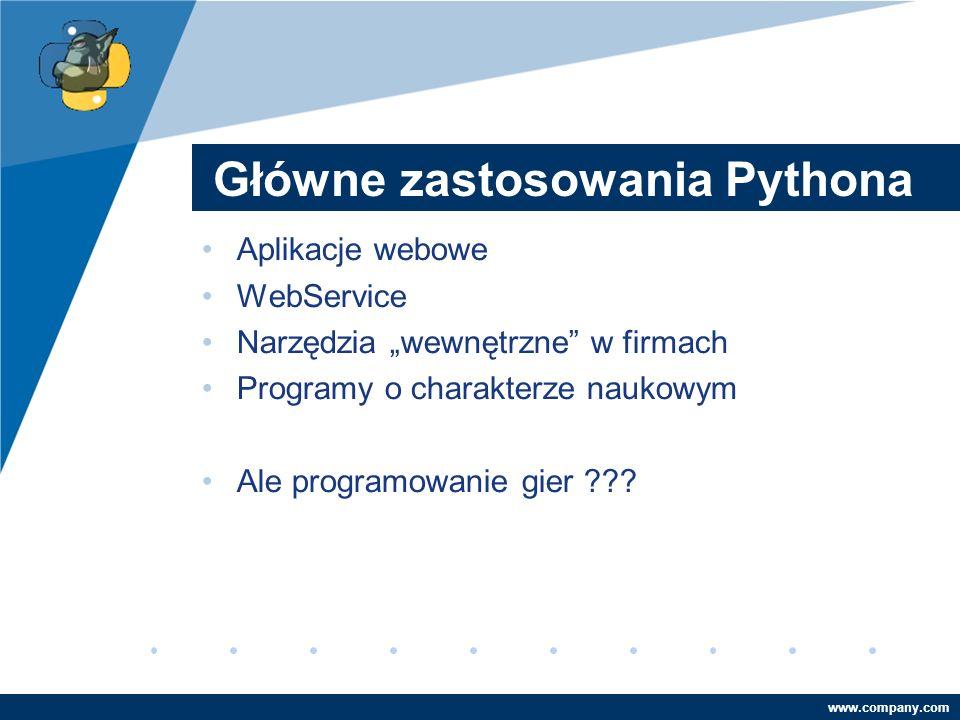 Company LOGO www.company.com Główne zastosowania Pythona Aplikacje webowe WebService Narzędzia wewnętrzne w firmach Programy o charakterze naukowym Al