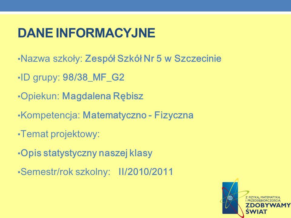 DANE INFORMACYJNE Nazwa szkoły: Zespół Szkół Nr 5 w Szczecinie ID grupy: 98/38_MF_G2 Opiekun: Magdalena Rębisz Kompetencja: Matematyczno - Fizyczna Te