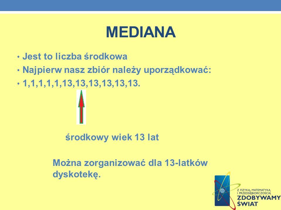 MEDIANA Jest to liczba środkowa Najpierw nasz zbiór należy uporządkować: 1,1,1,1,1,13,13,13,13,13,13.